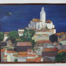 Arte: M.A. LOPEZ SALA - ÓLEO SOBRE TELA - PAISAJE - CADAQUES (COSTA BRAVA) - ANCHO 76,5 CM, ALTURA 63,5 CM. Lote 166000610