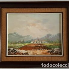 Arte: CUADRO - PINTURA OLEO SOBRE LIENZO - PAISAJE MONTAÑAS. Lote 166021298