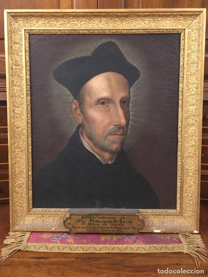 Arte: Óleo sobre lienzo. San Francisco De Borja. Anónimo. - Foto 6 - 194954451
