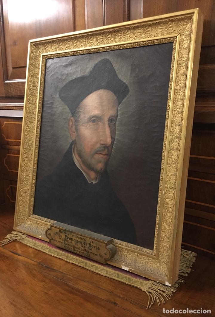 Arte: Óleo sobre lienzo. San Francisco De Borja. Anónimo. - Foto 11 - 194954451