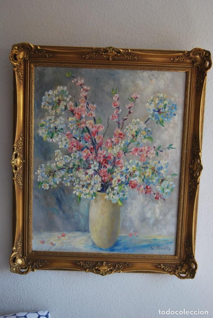 EXCELENTE ÓLEO SOBRE LIENZO - FIRMADO BARTH - ENMARCADO EN KÖLN, ALEMANIA -AÑOS 40 -FLORES - BODEGÓN (Arte - Pintura - Pintura al Óleo Contemporánea )