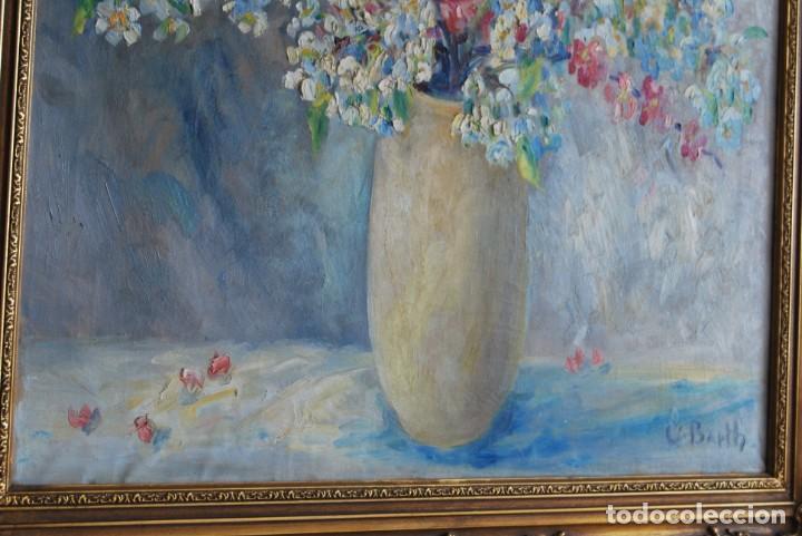 Arte: EXCELENTE ÓLEO SOBRE LIENZO - FIRMADO BARTH - ENMARCADO EN KÖLN, ALEMANIA -AÑOS 40 -FLORES - BODEGÓN - Foto 9 - 166090946