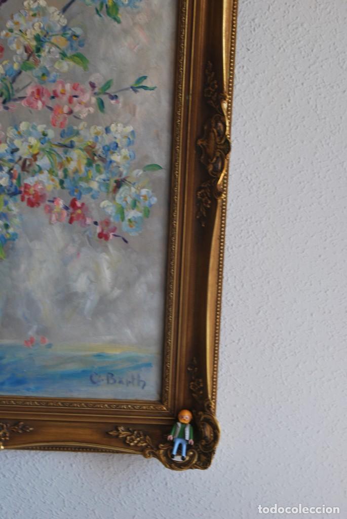 Arte: EXCELENTE ÓLEO SOBRE LIENZO - FIRMADO BARTH - ENMARCADO EN KÖLN, ALEMANIA -AÑOS 40 -FLORES - BODEGÓN - Foto 21 - 166090946