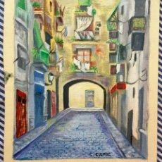 Arte: ÓLEO CON PAISAJE URBANO DE BARCELONA FIRMADO Y FECHADO. Lote 166131478