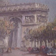 Arte: ~~~~ PRECIOSA TABLITA ENMARCADA, OLEO. ARCO DEL TRIUNFO,- PARIS. MIDE 10 X 8 CM. CUADRO 38 X 36 ~~~~. Lote 166156290