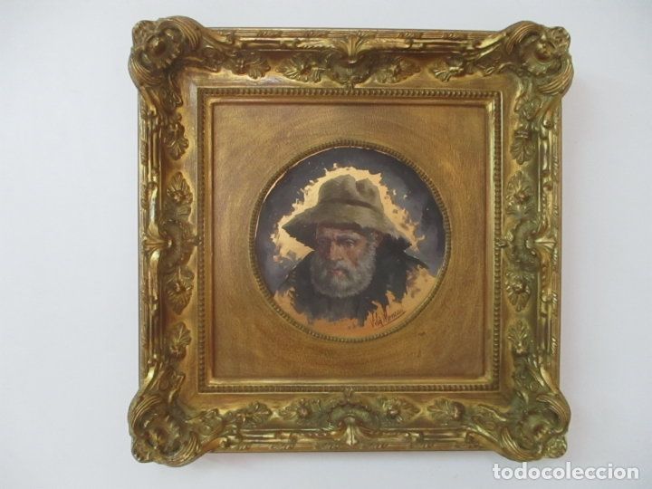 VILA MONCAU (VIC 1924 - 2013) - ÓLEO SOBRE TABLEX - FIGURA - BONITO MARCO (Arte - Pintura - Pintura al Óleo Moderna sin fecha definida)
