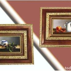Arte: PAREJA DE EXQUISITOS OLEOS SOBRE TABLA, BODEGONES, FIRMADOS POR EL PINTOR BLANQUER . Lote 166341278