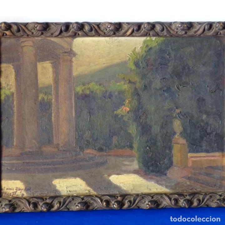 OLEO SOBRE CARTÓN DURO DE JOAN VILA PUIG.DEDICADO A BLAY NART.FALTA LIMPIEZA. (Arte - Pintura - Pintura al Óleo Contemporánea )