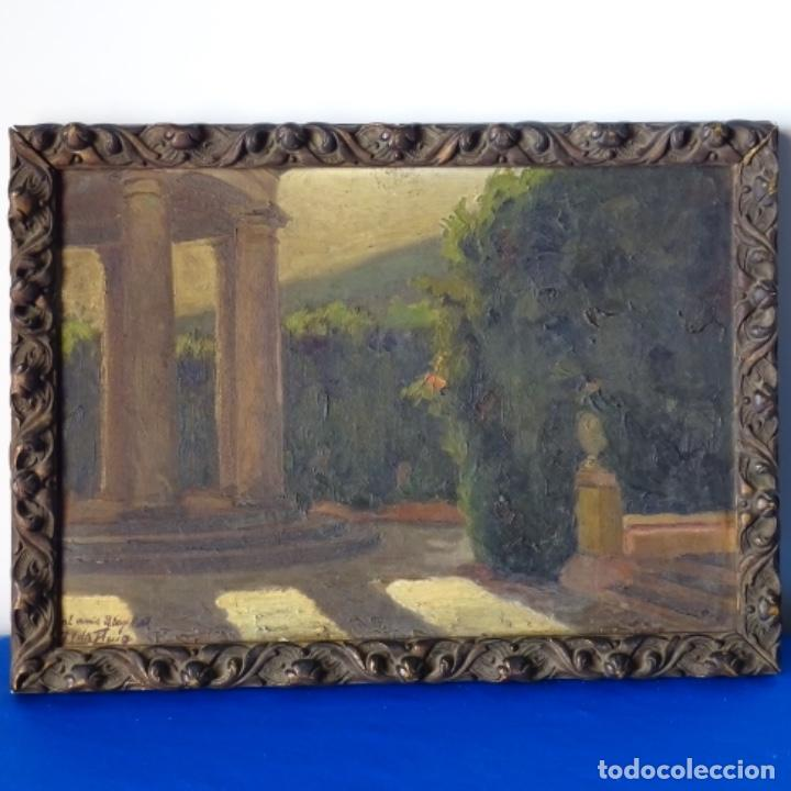 Arte: Oleo sobre cartón duro de Joan vila puig.dedicado a Blay nart.falta limpieza. - Foto 2 - 166466110
