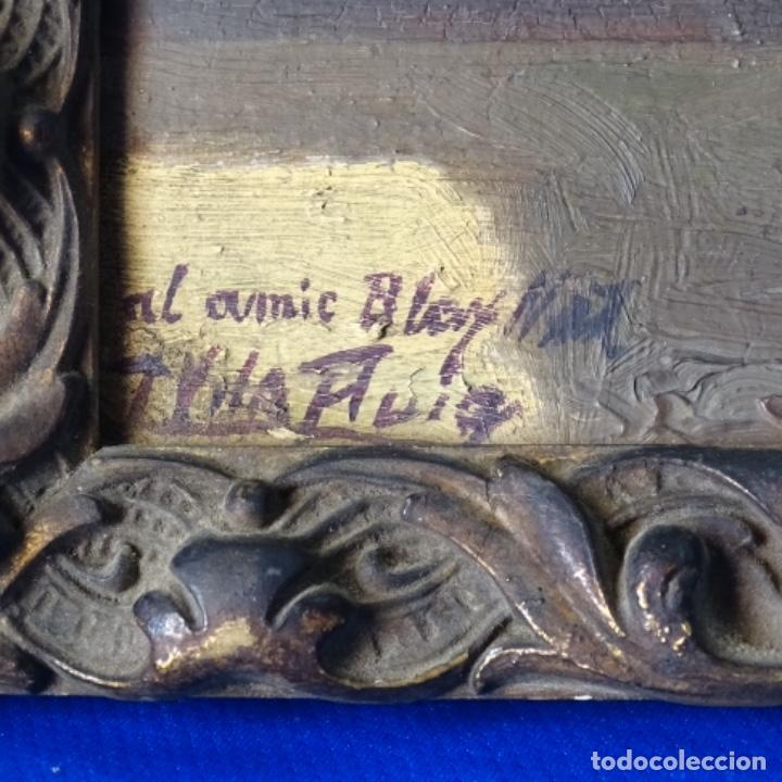 Arte: Oleo sobre cartón duro de Joan vila puig.dedicado a Blay nart.falta limpieza. - Foto 6 - 166466110