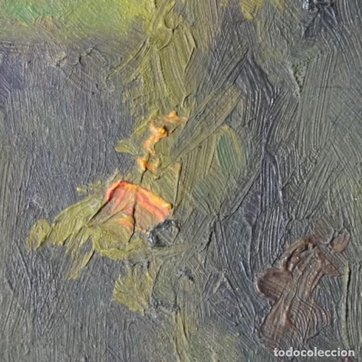 Arte: Oleo sobre cartón duro de Joan vila puig.dedicado a Blay nart.falta limpieza. - Foto 7 - 166466110