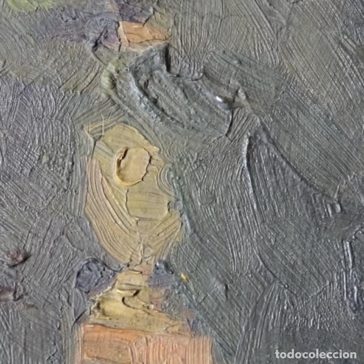 Arte: Oleo sobre cartón duro de Joan vila puig.dedicado a Blay nart.falta limpieza. - Foto 8 - 166466110