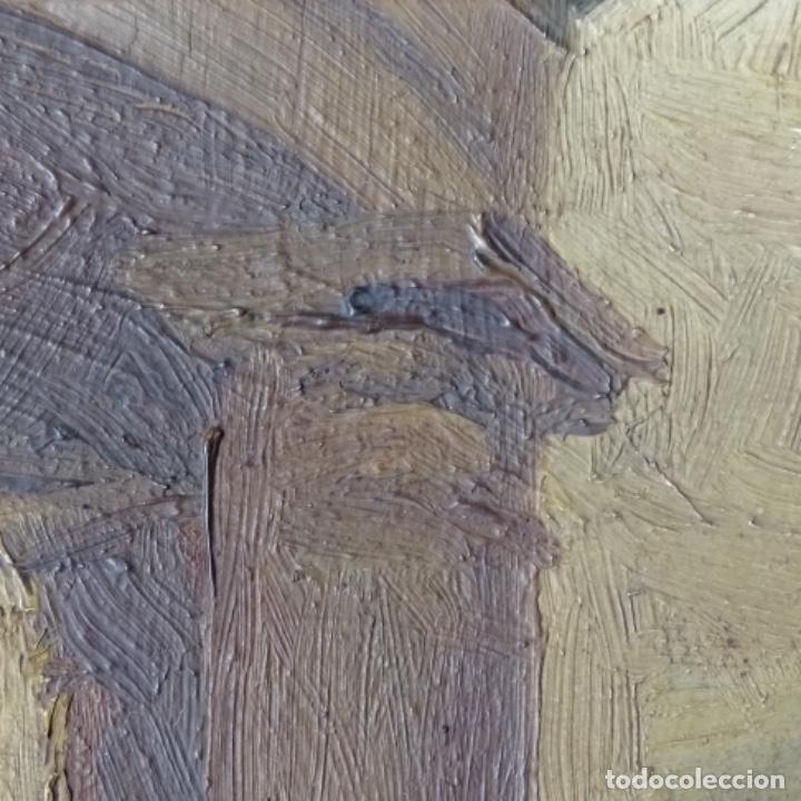 Arte: Oleo sobre cartón duro de Joan vila puig.dedicado a Blay nart.falta limpieza. - Foto 9 - 166466110