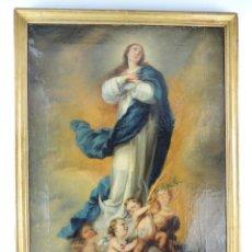 Arte: ANTIGUO CUADRO LA VIRGEN INMACULADA OLEO SOBRE LIENZO ORIGINAL SIGLO XVIII-XIX. Lote 166467370