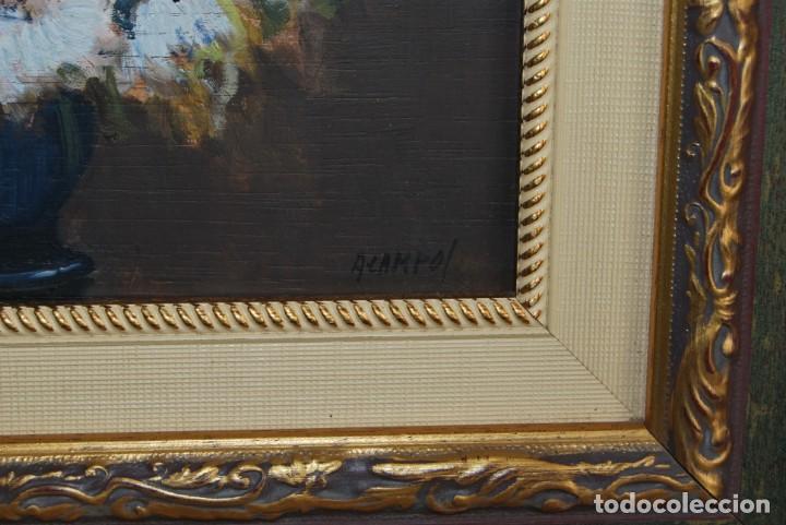 Arte: ANTONIO CAMPOS - ÓLEO SOBRE TABLA - FLORES - SANTANDER - Foto 8 - 166596018