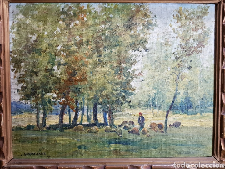 PAISAJE CON PASTOR POR J. SERRAT CALVÓ (Arte - Pintura - Pintura al Óleo Contemporánea )
