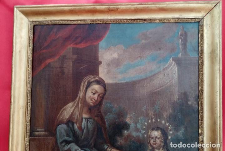 Arte: ÓLEO S/LIENZO -SANTA ANA ENSEÑANDO A LEER A LA VIRGEN-, ESC. BARROCA SEVILLANA S. XVII. 75X61 CMS - Foto 3 - 166837610