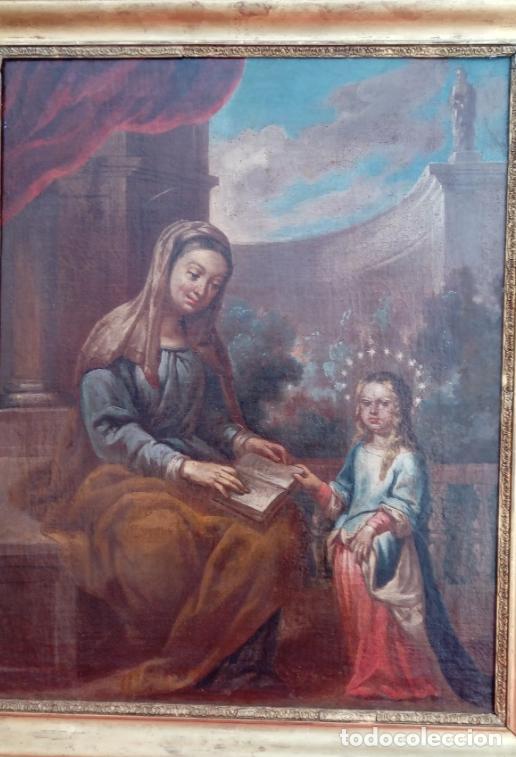 Arte: ÓLEO S/LIENZO -SANTA ANA ENSEÑANDO A LEER A LA VIRGEN-, ESC. BARROCA SEVILLANA S. XVII. 75X61 CMS - Foto 16 - 166837610