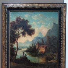Arte: PAISAJE ESCUELA HOLANDESA DEL XVIII, OLEO SOBRE LIENZO EN PERFECTO ESTADO, CON MARCO DE ÉPOCA. Lote 166876732