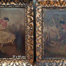 Arte: PARTEJA DE OLEOS SOBRE LIENZO CON MAJOS EN DANZA.SIGLO XIX. Lote 166877240