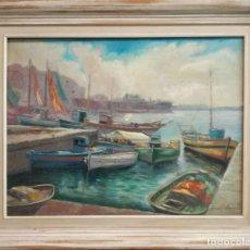 Arte: FRANCESC CARBONELL MASSABÉ (1928) - ÓLEO SOBRE TELA - CONTRALLUM MAR DELS PESCADORS BARCELONA. Lote 167050292