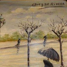 Arte: OLEO SOBLE LIENZO DE PAISAJE INVERNAL CON VIANDANTES Y CASTAÑERA. FIRMA L. DIEZ DE RIVERA. CIRCA1900. Lote 167059812