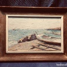 Arte: OLEO TABLA VISTA COSTA BARCAS FIRMA A. CANELA ALMAZARA EN TRASERA MITD S XX 33,5X45,5CMS. Lote 167108944