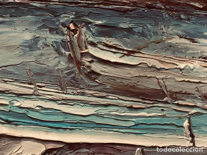 Arte: OLEO TABLA VISTA COSTA BARCAS FIRMA A. CANELA ALMAZARA EN TRASERA MITD S XX 33,5X45,5CMS - Foto 2 - 167108944