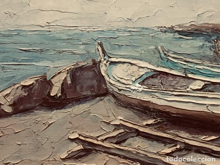 Arte: OLEO TABLA VISTA COSTA BARCAS FIRMA A. CANELA ALMAZARA EN TRASERA MITD S XX 33,5X45,5CMS - Foto 3 - 167108944