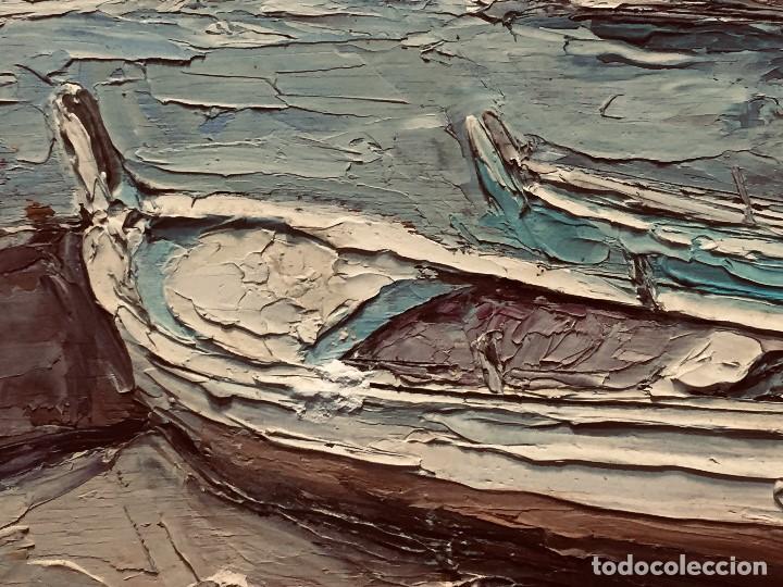 Arte: OLEO TABLA VISTA COSTA BARCAS FIRMA A. CANELA ALMAZARA EN TRASERA MITD S XX 33,5X45,5CMS - Foto 9 - 167108944