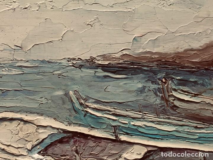Arte: OLEO TABLA VISTA COSTA BARCAS FIRMA A. CANELA ALMAZARA EN TRASERA MITD S XX 33,5X45,5CMS - Foto 10 - 167108944