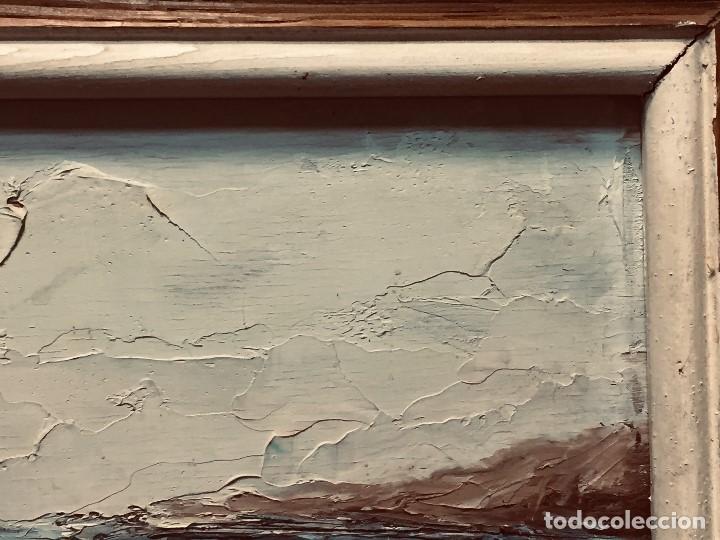 Arte: OLEO TABLA VISTA COSTA BARCAS FIRMA A. CANELA ALMAZARA EN TRASERA MITD S XX 33,5X45,5CMS - Foto 11 - 167108944
