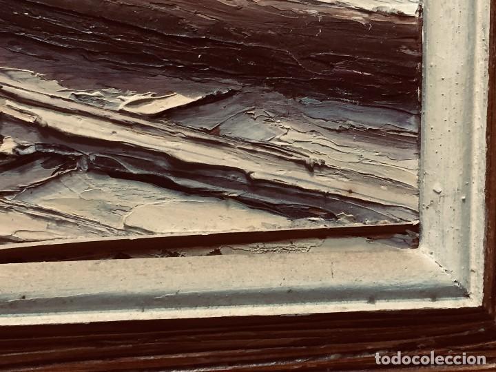 Arte: OLEO TABLA VISTA COSTA BARCAS FIRMA A. CANELA ALMAZARA EN TRASERA MITD S XX 33,5X45,5CMS - Foto 12 - 167108944