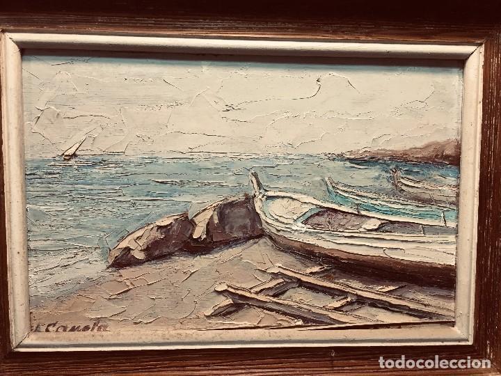 Arte: OLEO TABLA VISTA COSTA BARCAS FIRMA A. CANELA ALMAZARA EN TRASERA MITD S XX 33,5X45,5CMS - Foto 14 - 167108944