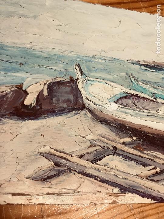 Arte: OLEO TABLA VISTA COSTA BARCAS FIRMA A. CANELA ALMAZARA EN TRASERA MITD S XX 33,5X45,5CMS - Foto 17 - 167108944