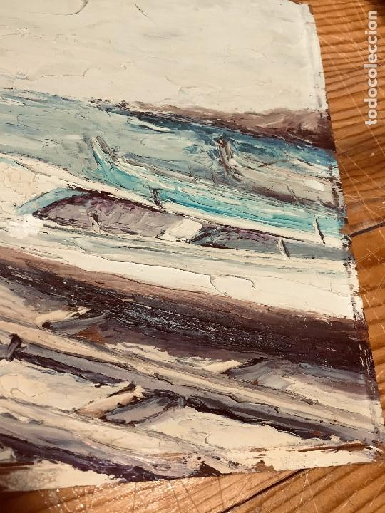 Arte: OLEO TABLA VISTA COSTA BARCAS FIRMA A. CANELA ALMAZARA EN TRASERA MITD S XX 33,5X45,5CMS - Foto 18 - 167108944