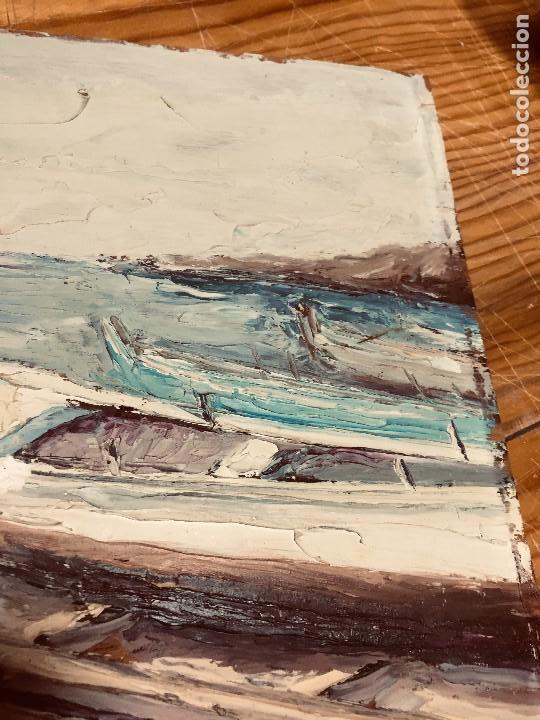 Arte: OLEO TABLA VISTA COSTA BARCAS FIRMA A. CANELA ALMAZARA EN TRASERA MITD S XX 33,5X45,5CMS - Foto 19 - 167108944