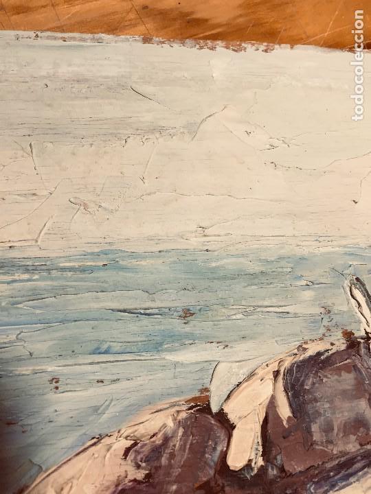 Arte: OLEO TABLA VISTA COSTA BARCAS FIRMA A. CANELA ALMAZARA EN TRASERA MITD S XX 33,5X45,5CMS - Foto 23 - 167108944