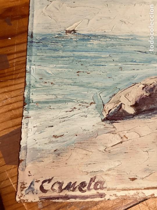Arte: OLEO TABLA VISTA COSTA BARCAS FIRMA A. CANELA ALMAZARA EN TRASERA MITD S XX 33,5X45,5CMS - Foto 25 - 167108944