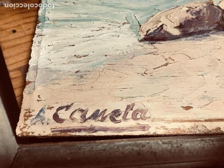 Arte: OLEO TABLA VISTA COSTA BARCAS FIRMA A. CANELA ALMAZARA EN TRASERA MITD S XX 33,5X45,5CMS - Foto 29 - 167108944