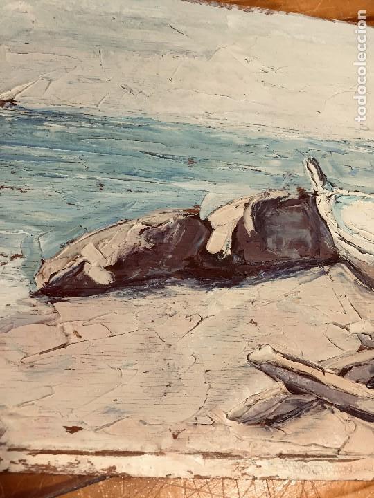 Arte: OLEO TABLA VISTA COSTA BARCAS FIRMA A. CANELA ALMAZARA EN TRASERA MITD S XX 33,5X45,5CMS - Foto 32 - 167108944