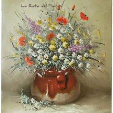 Arte: ÓLEO SOBRE LIENZO - RAMILLETE DE FLORES SILVESTRES - FIRMADO. Lote 167266776