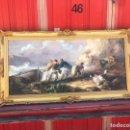 Arte: CUADRO PESQUERO PAN DE ORO ÓLEO 1,41X75. Lote 167504377