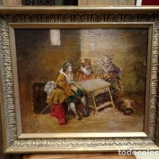 Arte: CUADRO ANTIGUO COSTUMBRISTA EN TABERNA, OLEO SOBRE TABLA 68 X 60. Lote 167527960