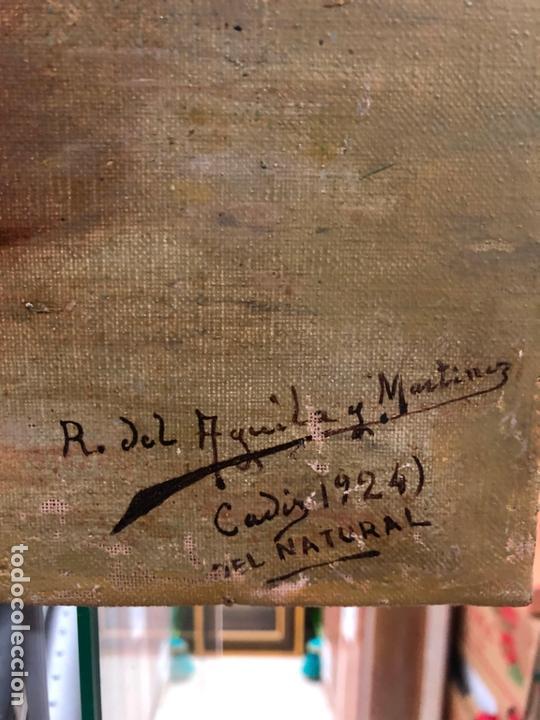 Arte: MAGNIFICO OLEO SOBRE LIENZO RETRATO POR EL PINTOR GADITANO R. DEL CASTILLO Y MARTINEZ - CADIZ 1924 - Foto 6 - 167530292