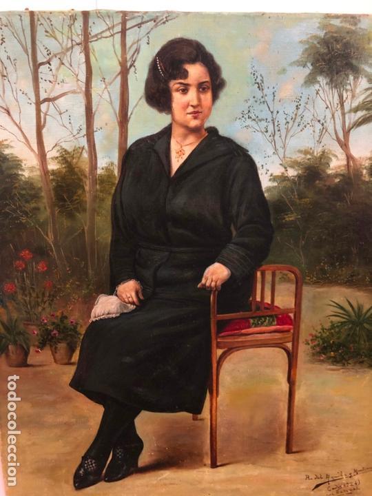 Arte: MAGNIFICO OLEO SOBRE LIENZO RETRATO POR EL PINTOR GADITANO R. DEL CASTILLO Y MARTINEZ - CADIZ 1924 - Foto 10 - 167530292