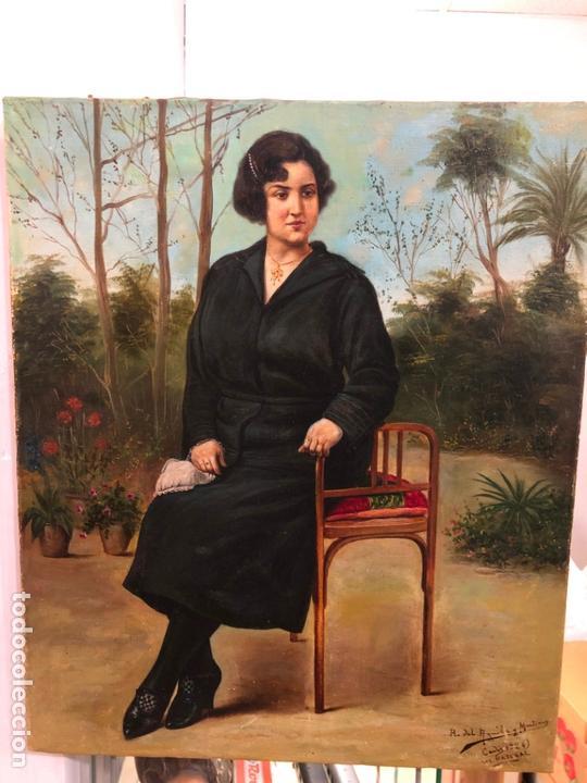 MAGNIFICO OLEO SOBRE LIENZO RETRATO POR EL PINTOR GADITANO R. DEL CASTILLO Y MARTINEZ - CADIZ 1924 (Arte - Pintura - Pintura al Óleo Antigua sin fecha definida)