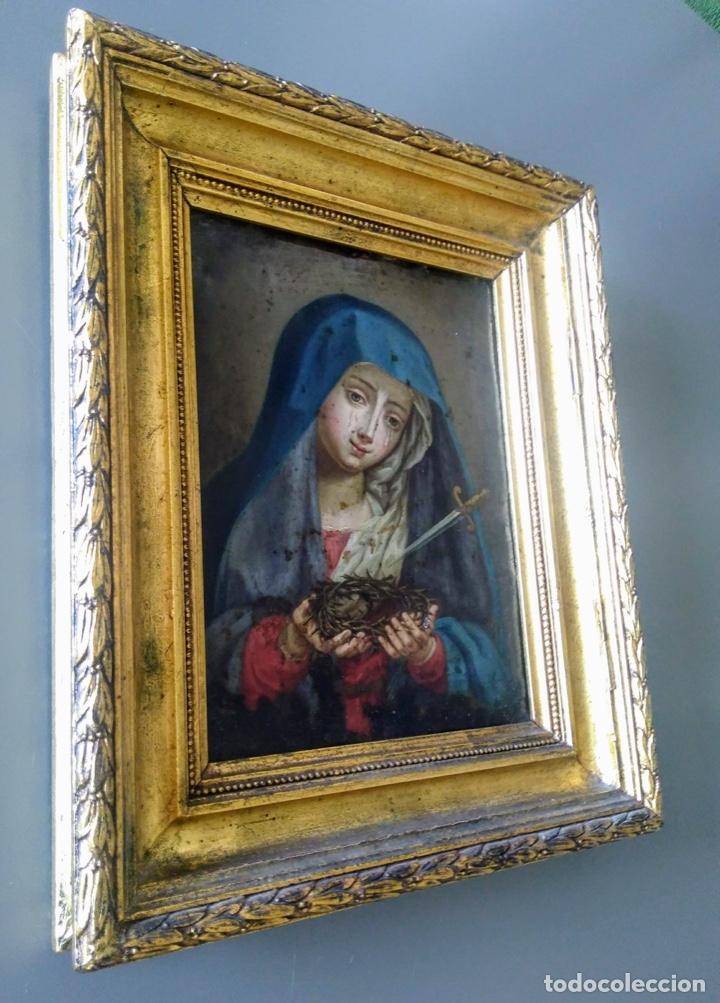 Arte: Virgen Dolorosa, Óleo sobre cobre S. XVIII - Foto 2 - 160485586