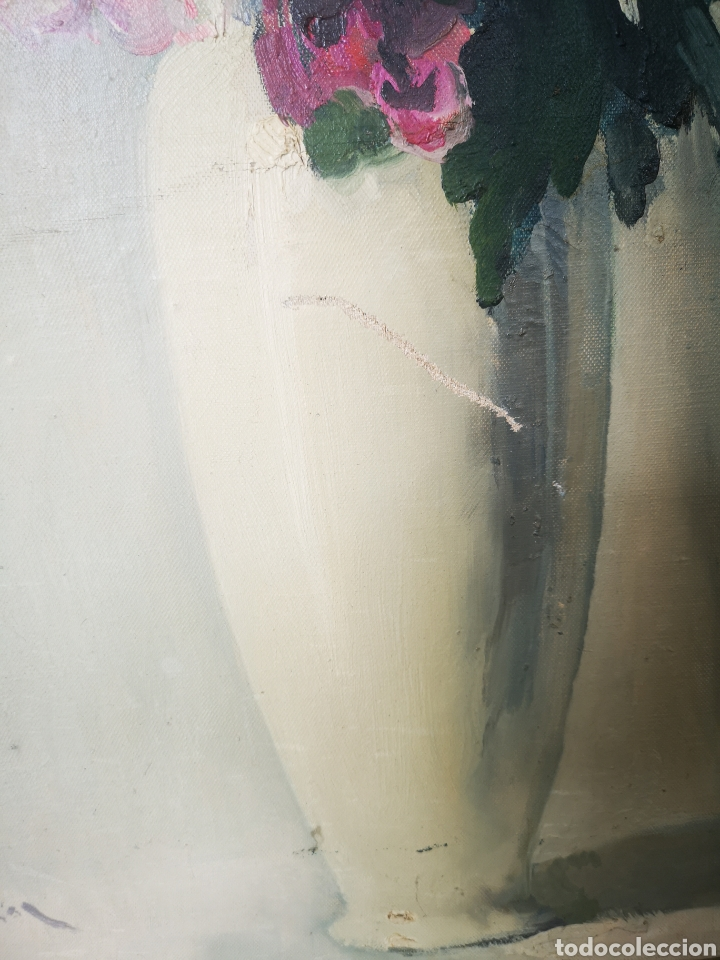Arte: Oleo sobre lienzo, florero, escuela francesa, firmado, Medidas totales 66x77cm - Foto 3 - 167599905