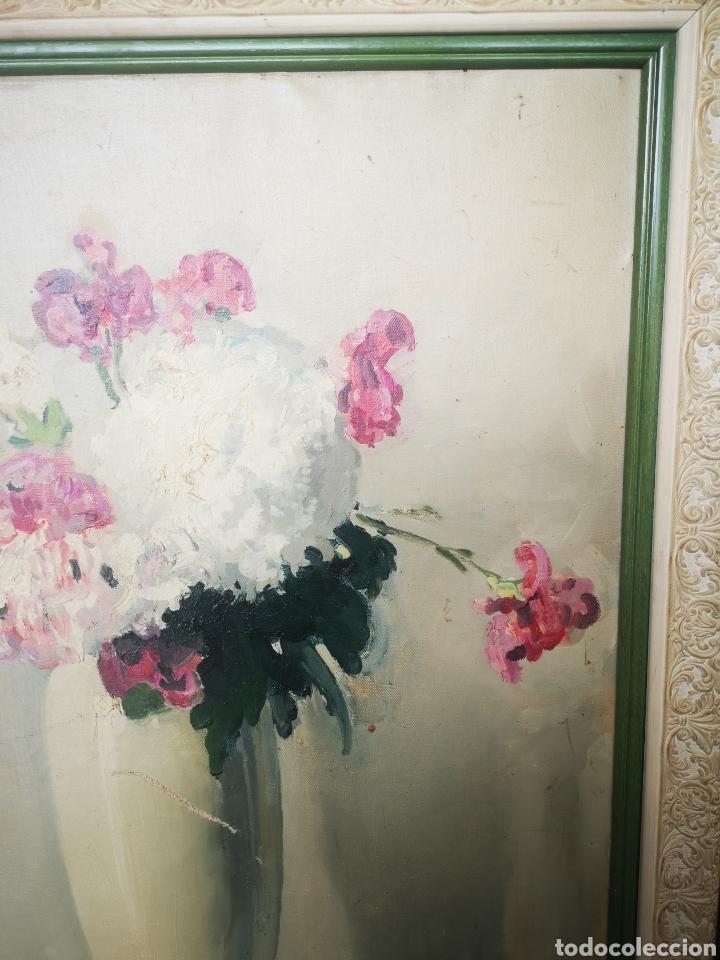 Arte: Oleo sobre lienzo, florero, escuela francesa, firmado, Medidas totales 66x77cm - Foto 5 - 167599905